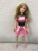 """""""2013"""" Mattel Barbie Doll, Gorgeous Pink Dress W/Black Lace and Bow"""