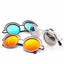 Women Fashion Mrirror Lens Pearl Encrusted Round Circle Metal Frame Sunglasses