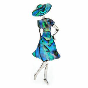 Brosche Frau mit Hut. Natürliche Muschel Abalone. Silber Farbe.