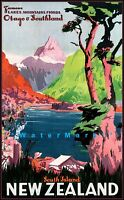 New Zealand 1937 South Island Vintage Poster Print Retro Style Travel Art Decor