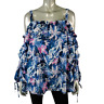 Lane Bryant Womens Top Plus Size 22/24 Off Shoulder Ruched Sleeve Floral Blue
