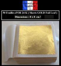 50 Feuilles d'OR 24 K ( 8 cm x 8 cm ! ) Sheets GOLD Foil Leaf - Dorure Gilding