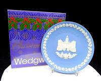 "WEDGWOOD JASPERWARE BLUE CHRISTMAS 8"" HORSE GUARDS PLATE ORIGINAL BOX 1978"