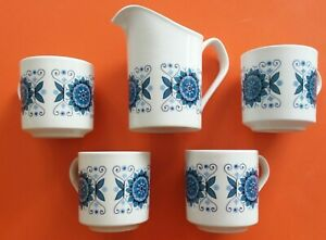 Vintage 1960-70s Retro Ceramic Milk Jug 4 Cups Bundle Floral Johnson Bros Kitsch