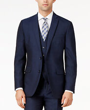 $797 BAR III men BLUE SLIM FIT 2 PIECE BUTTON WOOL SUIT JACKET BLAZER PANTS 44 R