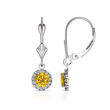 1.25CTW Round Halo Citrine Drop Dangle Leverback Earrings 14K White Gold