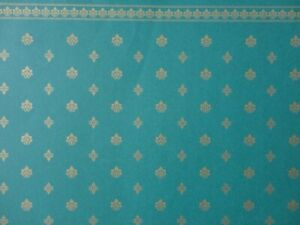 DOLLS HOUSE 1/12 SCALE WALLPAPER - V&A COLLECTION - GREEN/GOLD CREST - 0109