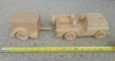 CUSTOM HAND MADE CRAFTED WOOD WILLY'S JEEP CJ WRANGLER TOY W TRAILER vintage