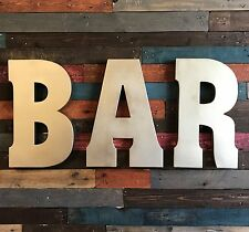 "BAR 20"" Metal Industrial Block Marquee Letters Recycled Galvanized Pub Game Room"