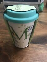 Lenox Butterfly Meadow Travel Mug Coffee Cup Monogram Initial M Porcelain 10 oz.