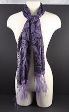 "Shawl Scarf Belt Purple Black Shimmer Sheer Fringe About 66 1/2""L x 19 1/2""W O22"