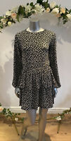 Wednesday's Girl Dress Size 8,12,14,18 & 22 Black Mono Floral Long Sleeve GR30