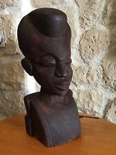Statue Ancienne Buste D'homme Afrique Ethnique Bois Sculpté