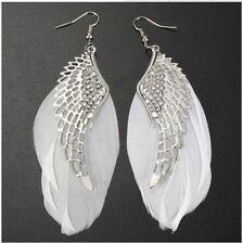 White Feather Earrings Angel Wing Long Dangle Handmade Eardrop Fashion Jewellery