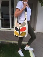 ORLA KIELY MULTI STEM White FABRİC-CROSSBAG SHOULDER BAG-SHOPPING BAG HANDMADE