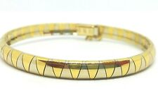 "14K yellow Gold two tone  7"" long omega bracelet 5.94 mm wide 17.11grams Italy#"