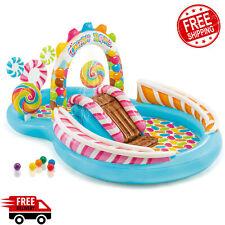 Kids Plastic Swimming Pool Inflatable Waterslide Candy Play Swim Sprayer 6 Balls