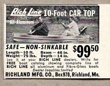 1959 Print Ad Rich Line Aluminum 10 Ft Car Top Boats Richland,MO
