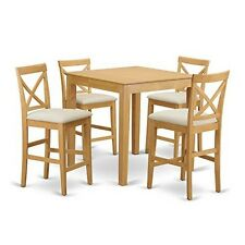 East West Furniture Pub 5 Piece 36x36 Square Counter Height Table Set W/ 4  Chairs