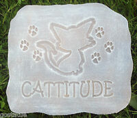 Cat garden plaque stepping stone plastic mold