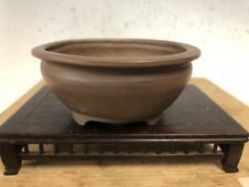 Shohin Size Unglazed Bonsai Tree Pot Made By Ryuen, Special Stamp 4 1/16�