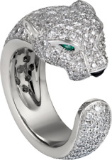 CERTIFIED CARTIER PANTHER 0.75CT PEAR GREEN 925 SILVER ENGAGEMENT SOLITAIRE RING