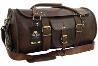"Yuge Bear 21"" FR1 Vtg Genuine Leather Overnight Flap Duffel Travel Carry On Bag"