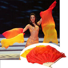 3 Colors Handmade Long Veils Fans Belly Dance Silk Bamboo Stage Prop Portable