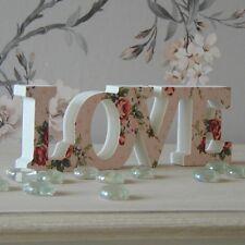 Cartello in legno Amore Floreale Vintage Bianco Rosa PLACCA LETTERE Regalo Di Nozze Decor