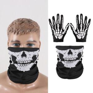 2 Pairs Cloth Skeleton Full Finger Gloves w/2 Skull Head Face Mask Scarf Set