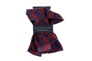 Tommy Hilfiger Paisley Red/Navy Silk Blend Pocket Square $59.50