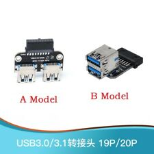 Motherboard USB3.0 20/19Pin to Dual 2 USB3.0 Type A Female Adapter Connector