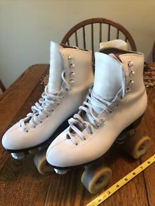 Vintage RIEDELL WHITE ROLLER SKATES CENTURY SURE-GRIP PLATES SIZE 3 NICE!
