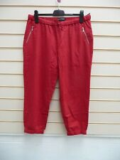Bodyflirt Trousers Red Size 16 Crop Linen Blend BNWOT G005