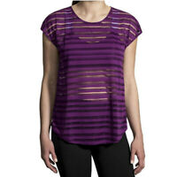 Brooks Womens Hot Shot Running T Shirt Tee Top Purple Sports Breathable