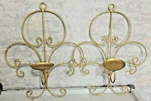 ONE PAIR Large Gold wrought iron  Metal Gothic Candlestick HOLDER Wall mounted
