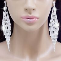 """#E121T 5"""" VERY LONG CLIP ON Clear Crystal BIG Chandelier Earrings Silver Plated"""