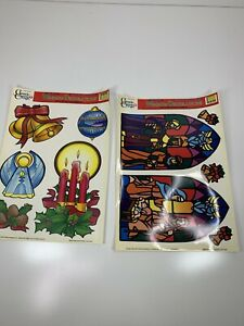 Lot of 2 VTG 1996 Window Clings Christmas Nativity Stained Glass Angel Bells