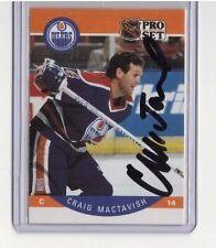 Craig Mactavish Signed 1990-91 Proset Nhl Hockey Card #90 Oilers Autograph Auto
