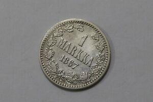 FINLAND UNDER RUSSIA 1 MARKKA 1867 SILVER SCARCE B34 #6063