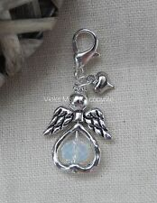 White Opal Clip on Glass Bead Heart Fairy/Guardian Angel Bracelet Charm UK