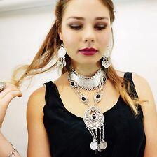 Hot Gypsy Vintage Silver Ethnic Tribal Boho Coin Tassel Women Statement Necklace