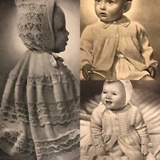 Vintage 1940s Baby Patons 249 Knitting Pattern Book Layette Hooded Shawl Blanket
