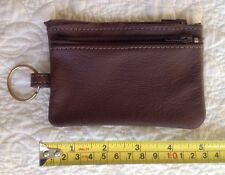 TWO ZIPPERS Key Ring & Coin Case Purse Pouch - Brown - Genuine Leather USA Made