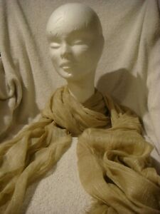 Soft Long cotton Scarf in pale  gold