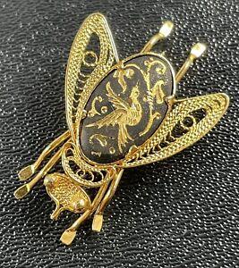 Vintage Antique Damascene Bumble Bee Brooch Pin Gold Tone Filigree
