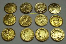 Collection 12 mini Pièces OR Arras Arrhes GOLD Clad Coins