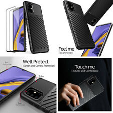 Case For Samsung Galaxy A51 Screen Protector Shockproof Rugged Cover Soft Black