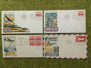LOT OF 4: FLUEGEL 5¢ 6¢ (C33 C35) STAMPS AIRMAIL POSTAGE CACHET FIRST DAY COVER