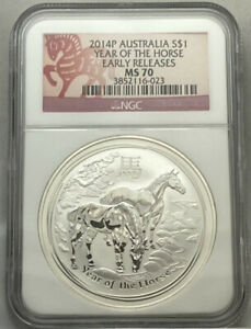 2014-P AUSTRALIA S$1 YEAR OF THE HORSE EARLY RELEASES NGC MS70 023